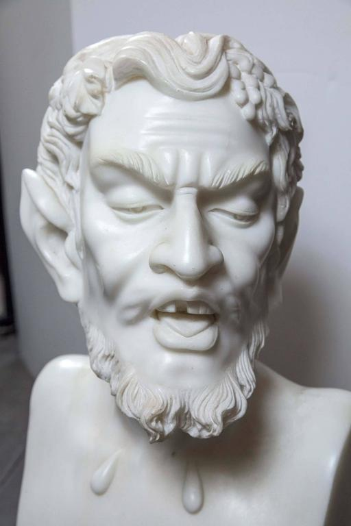 Hand-Carved Solid White Marble Bust of the Satyr For Sale