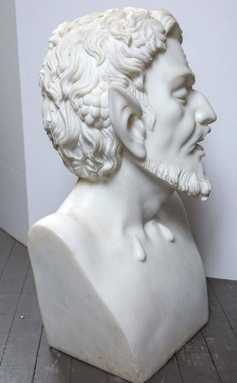 Solid White Marble Bust of the Satyr In Good Condition For Sale In Woodbury, CT