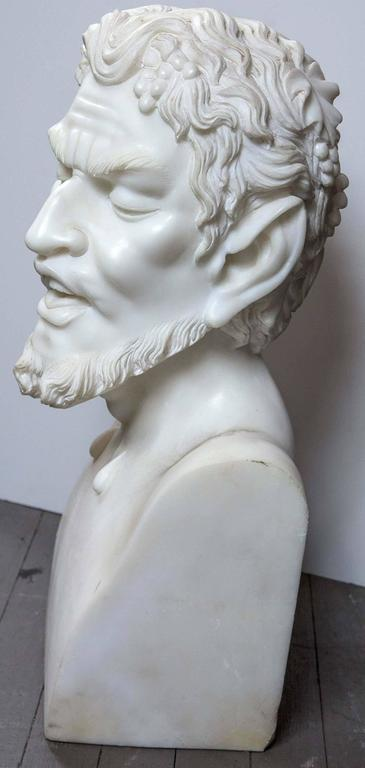 20th Century Solid White Marble Bust of the Satyr For Sale