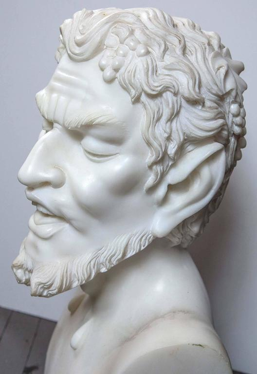 Solid White Marble Bust of the Satyr For Sale 1