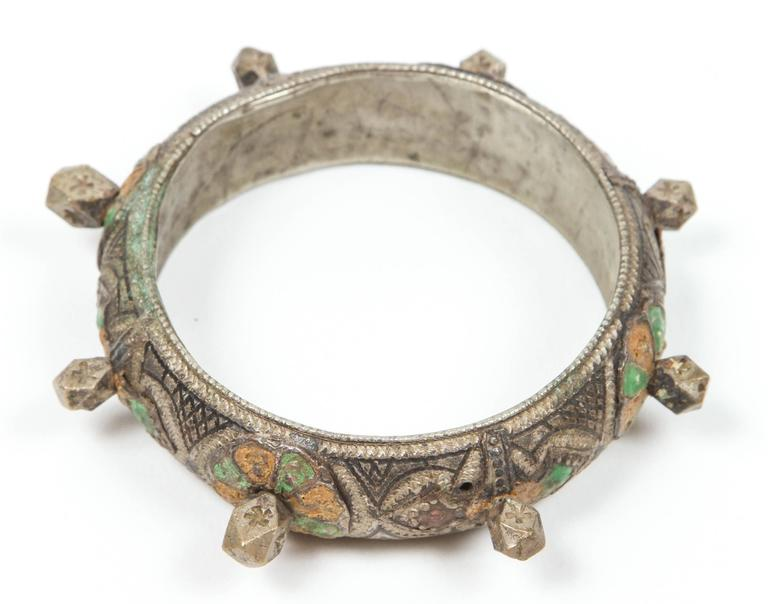 Tribal Moroccan Berber Silver Bracelet with Green and Orange Enamel For Sale