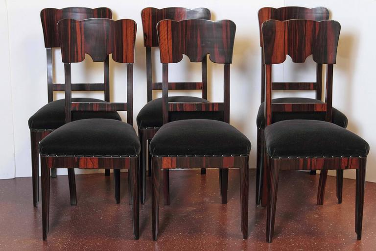 Set of Six French Art Deco Rosewood Veneered Side Chairs In Excellent Condition For Sale In Dallas, TX