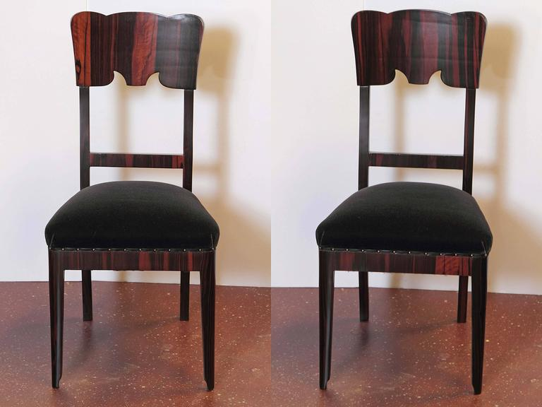Mid-20th Century Set of Six French Art Deco Rosewood Veneered Side Chairs For Sale
