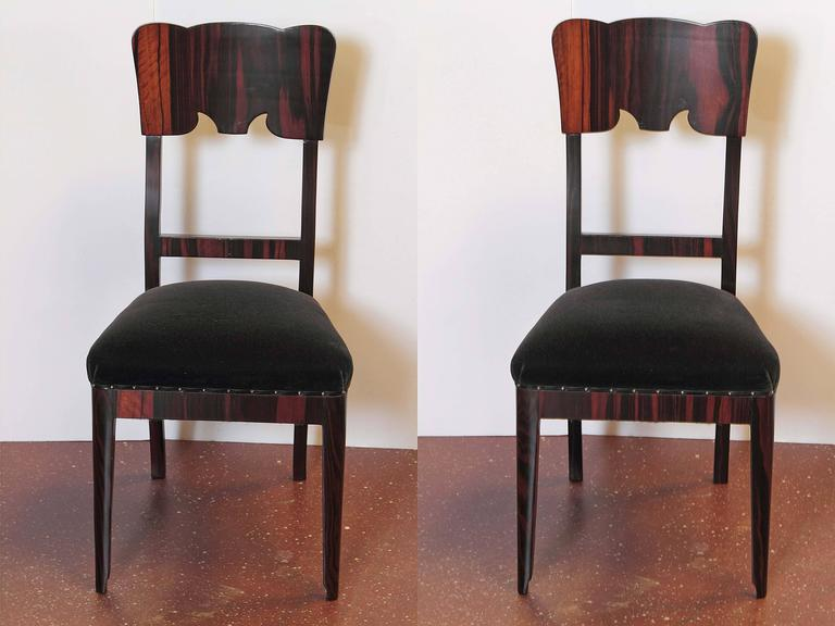 Wood Set of Six French Art Deco Rosewood Veneered Side Chairs For Sale