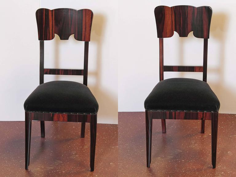 Set of Six French Art Deco Rosewood Veneered Side Chairs For Sale 1