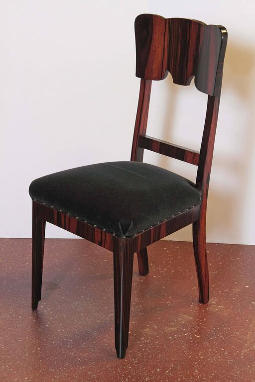 Set of Six French Art Deco Rosewood Veneered Side Chairs For Sale 2