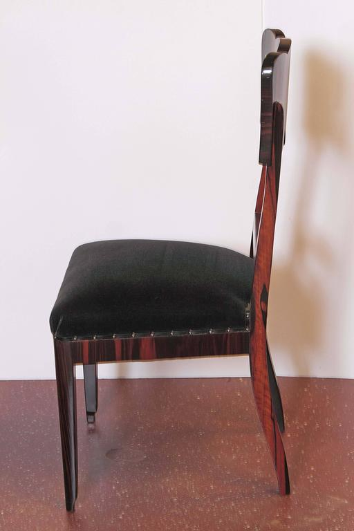 Set of Six French Art Deco Rosewood Veneered Side Chairs For Sale 3