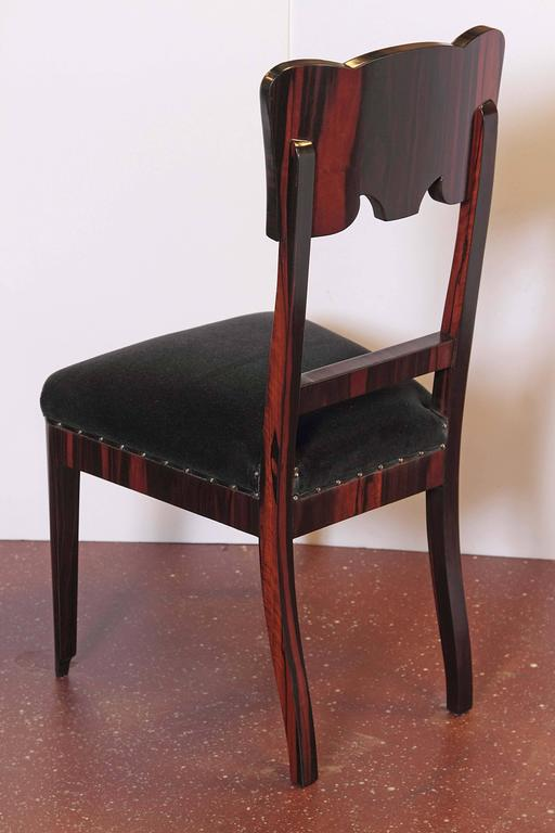 Set of Six French Art Deco Rosewood Veneered Side Chairs For Sale 4