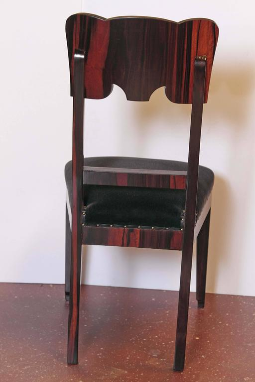 Set of Six French Art Deco Rosewood Veneered Side Chairs For Sale 5