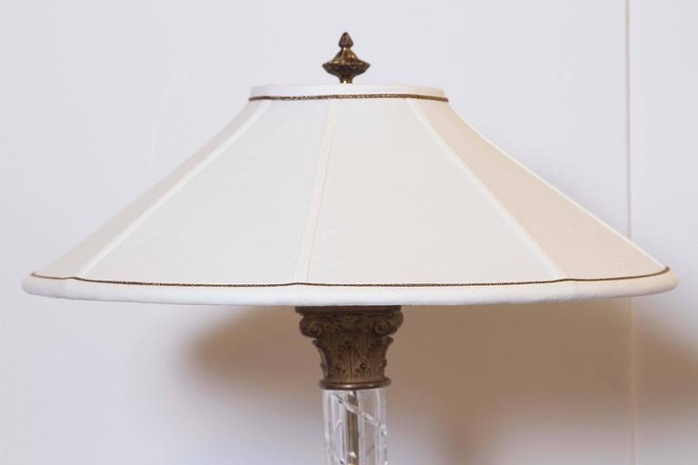 Carved Pair of Crystal Column Lamps For Sale