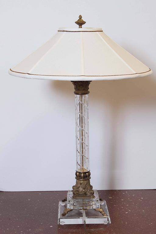 Pair of Crystal Column Lamps In Excellent Condition For Sale In Dallas, TX