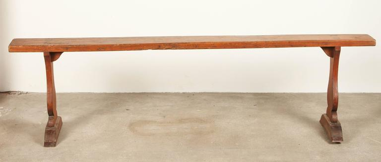 20th Century Rustic Trestle Wood Bench For Sale