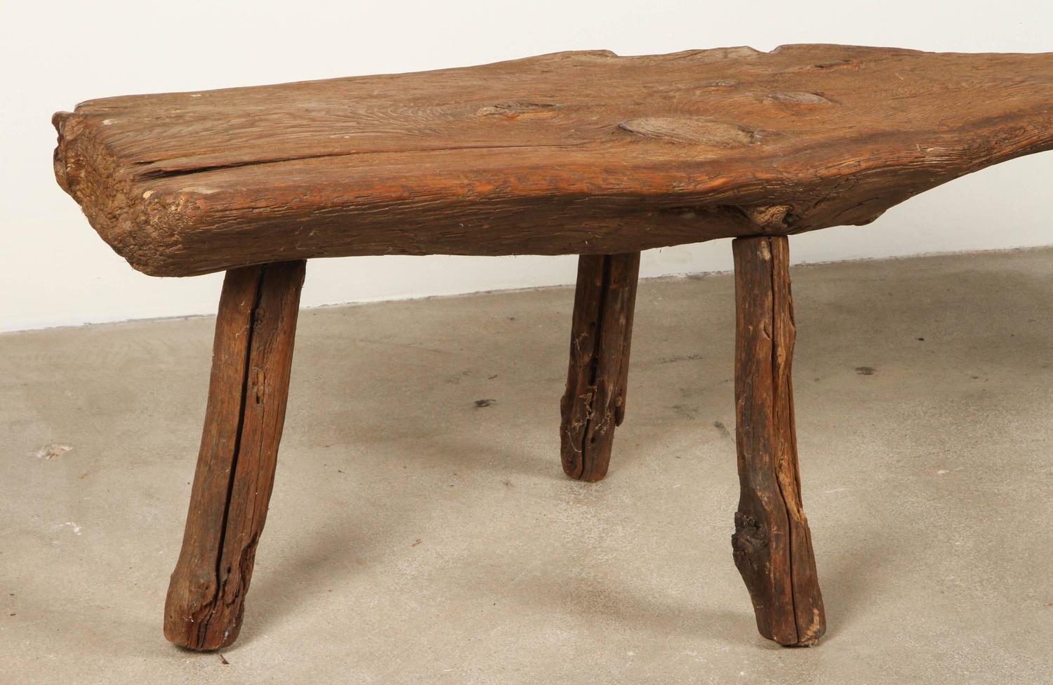 Live Edge Wooden Bench At 1stdibs