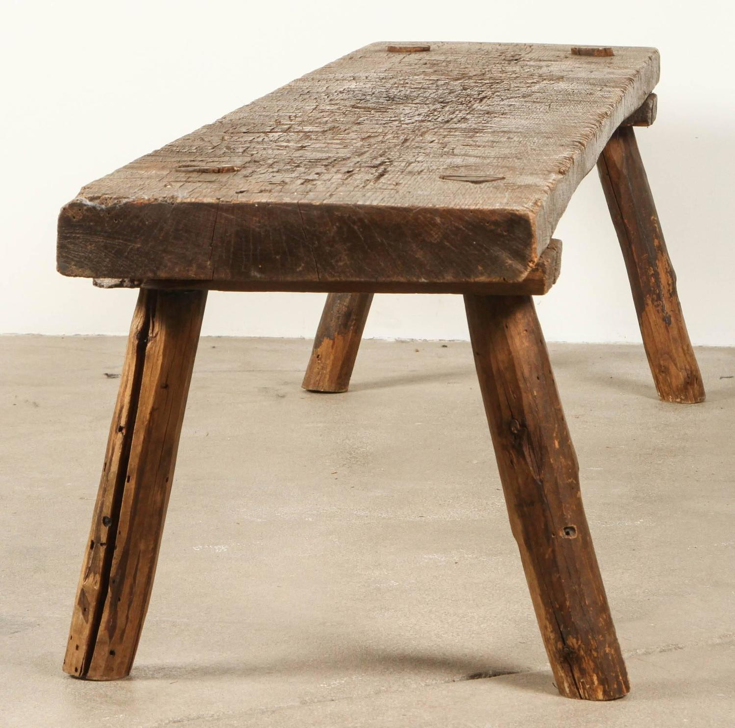 Italian Long Primitive Rustic Bench For Sale At 1stdibs