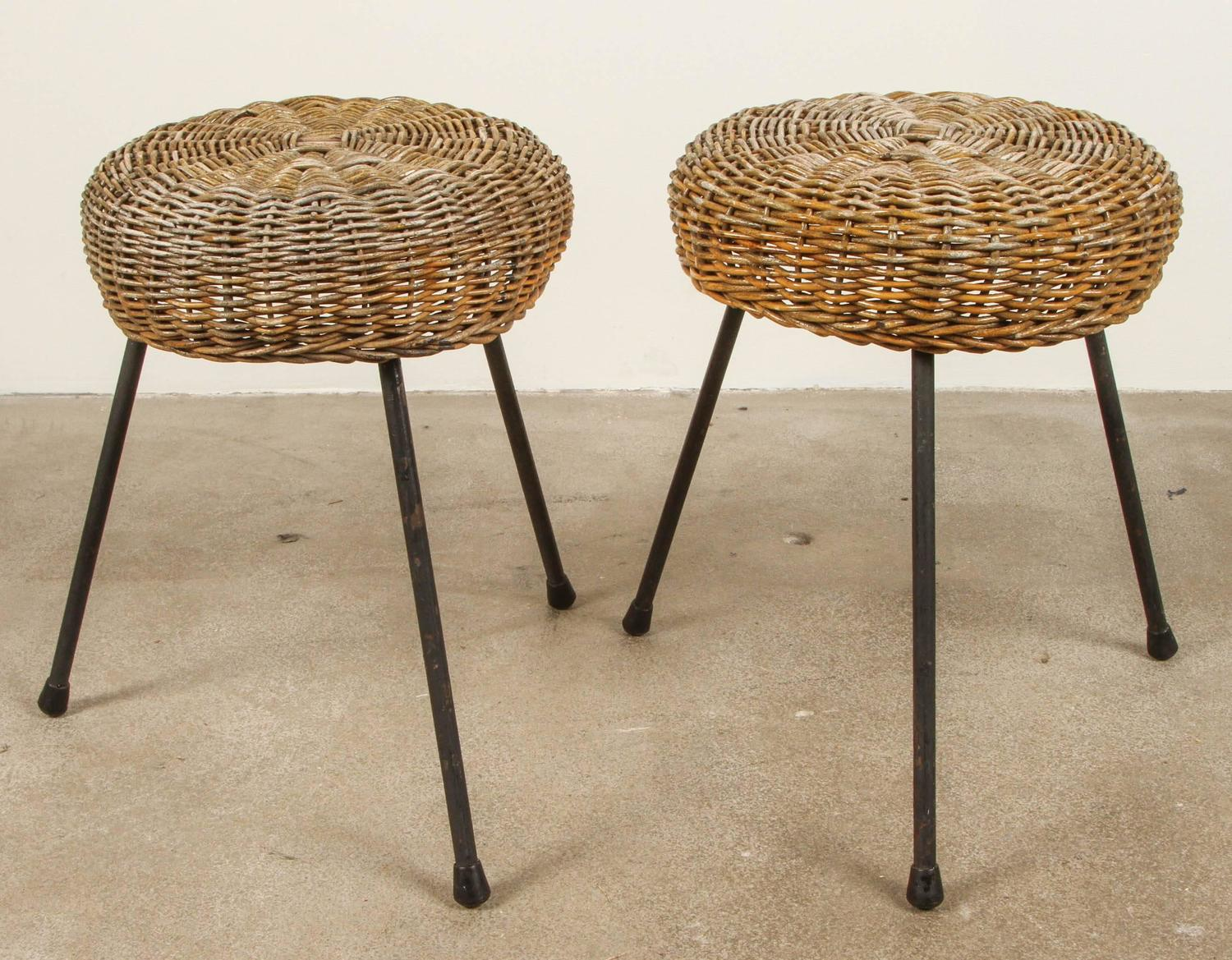 Wicker And Iron Three Legged Stool For Sale At 1stdibs