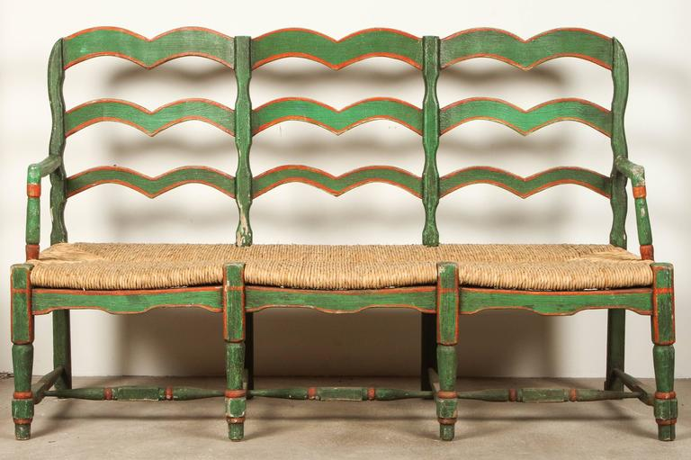 Green And Red Painted Mexican Bench With Rush Seat At 1stdibs