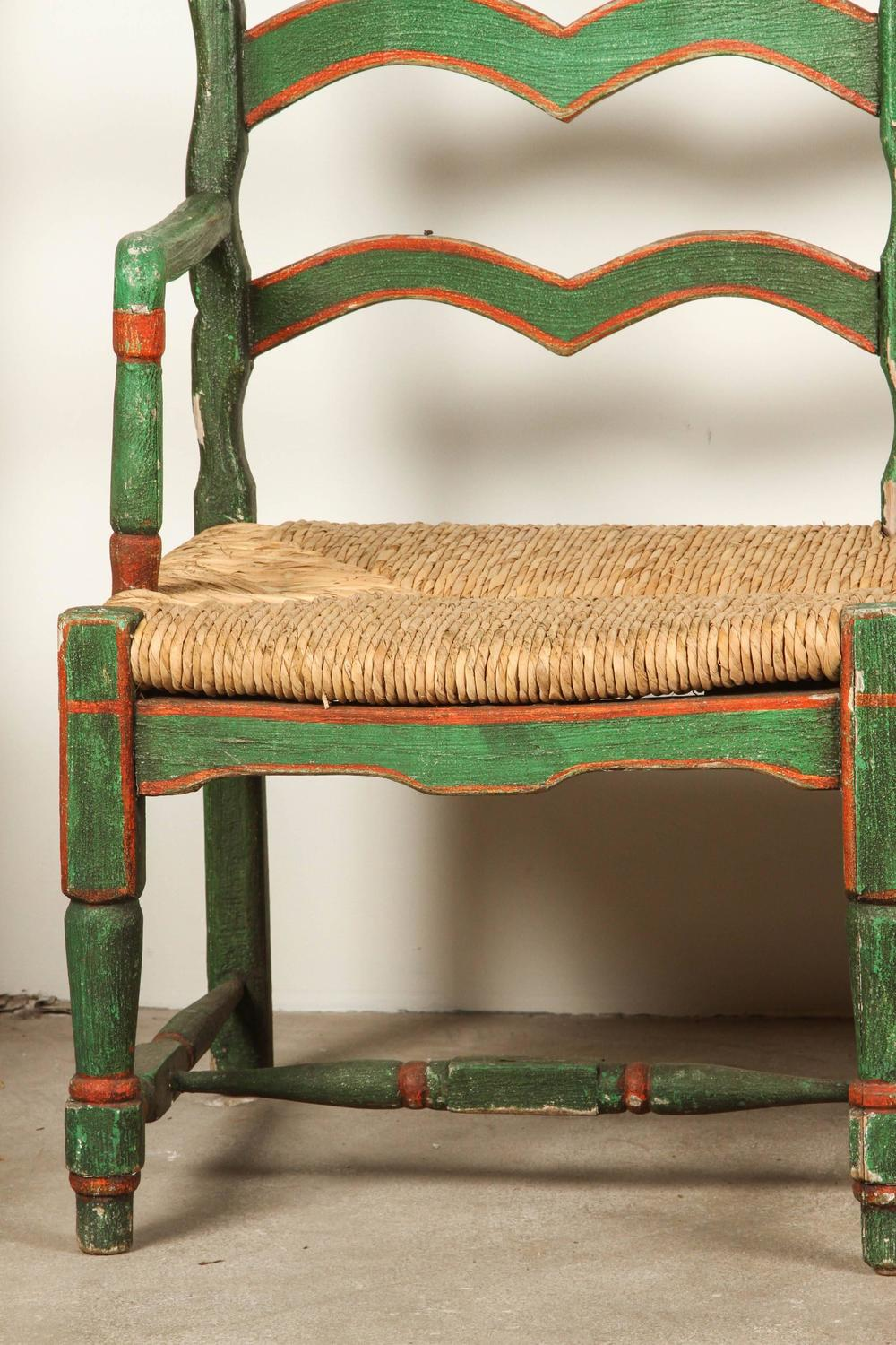 Green And Red Painted Mexican Bench With Rush Seat For