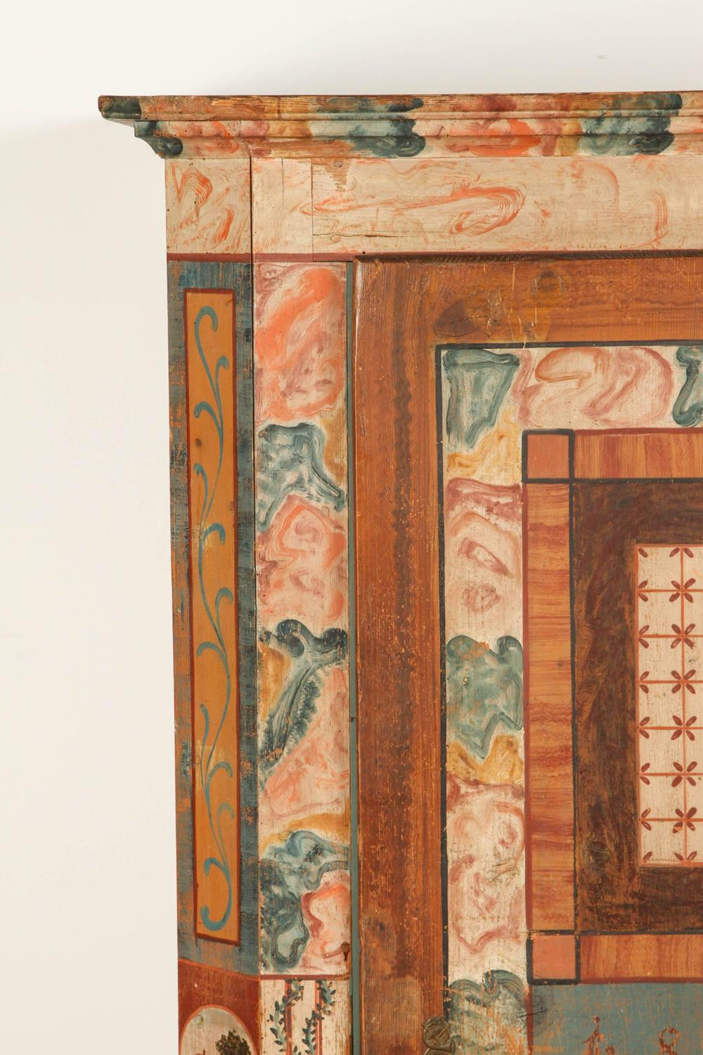 Folk Style Hand Painted Cabinet For Sale At 1stdibs