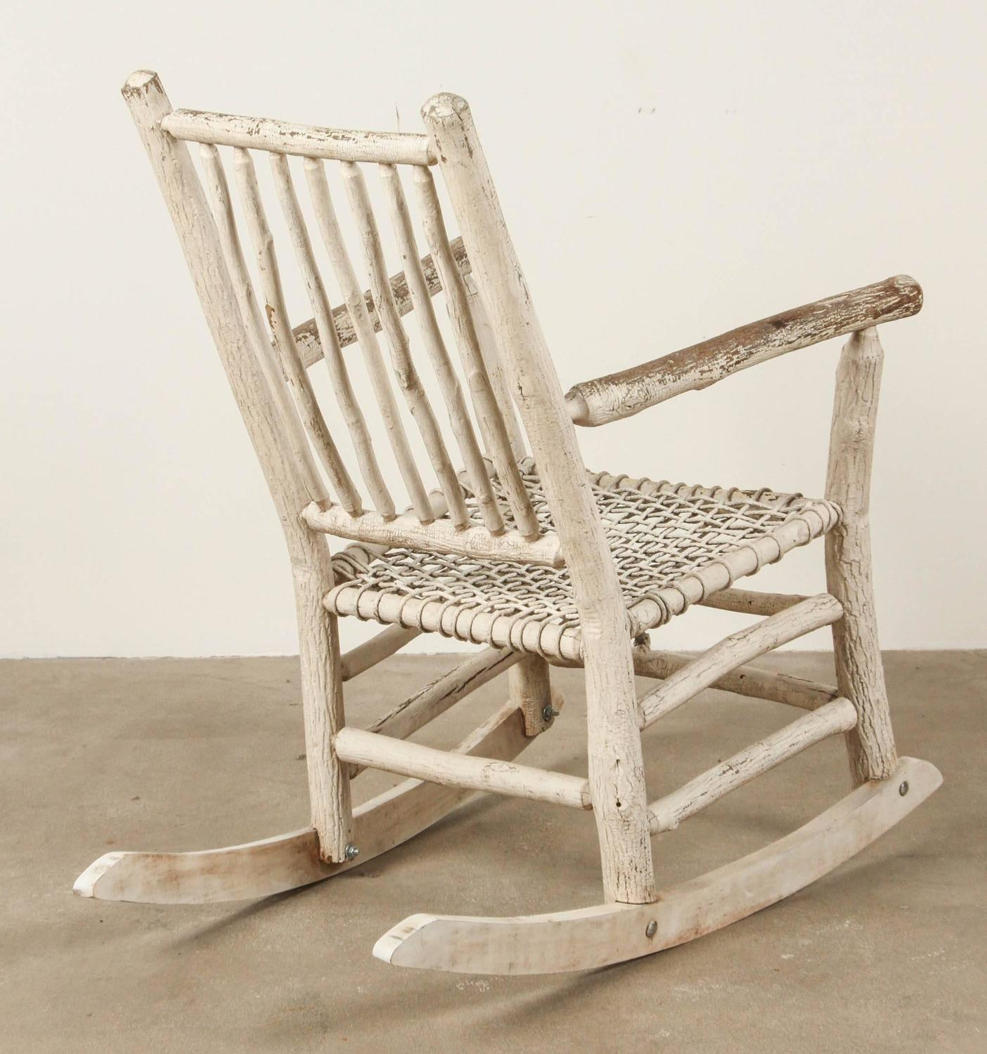 white painted rustic rocking chair for sale at 1stdibs. Black Bedroom Furniture Sets. Home Design Ideas