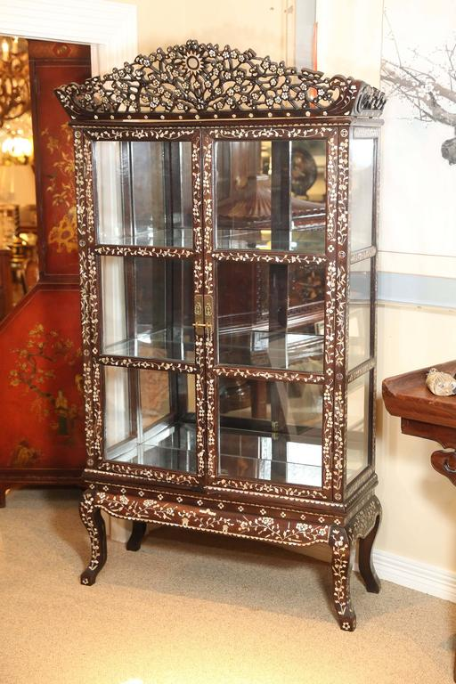 Ebonized Wood Vitrine Display Cabinet With Ornate Inlay Work Of Mother Pearl Designs