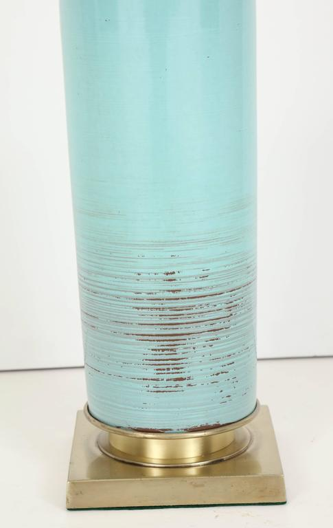 Mid-Century Modern Stiffel Turquoise Ceramic and Brass Table Lamps For Sale