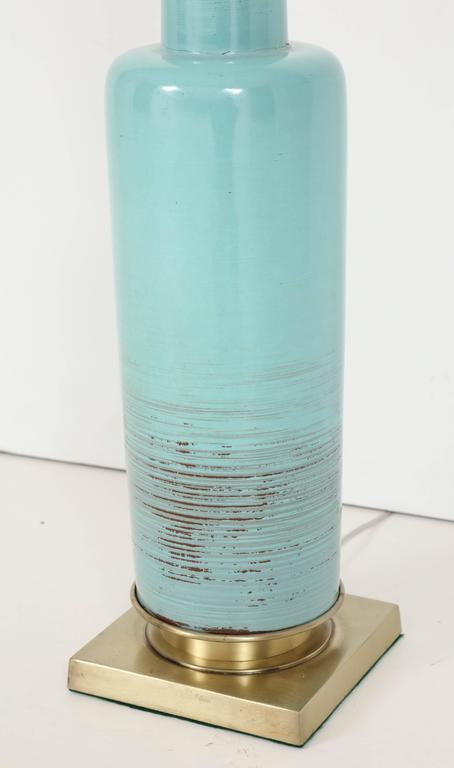 Stiffel Turquoise Ceramic and Brass Table Lamps In Excellent Condition For Sale In New York, NY