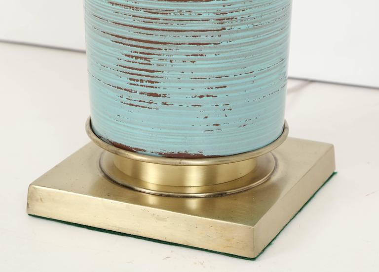 20th Century Stiffel Turquoise Ceramic and Brass Table Lamps For Sale