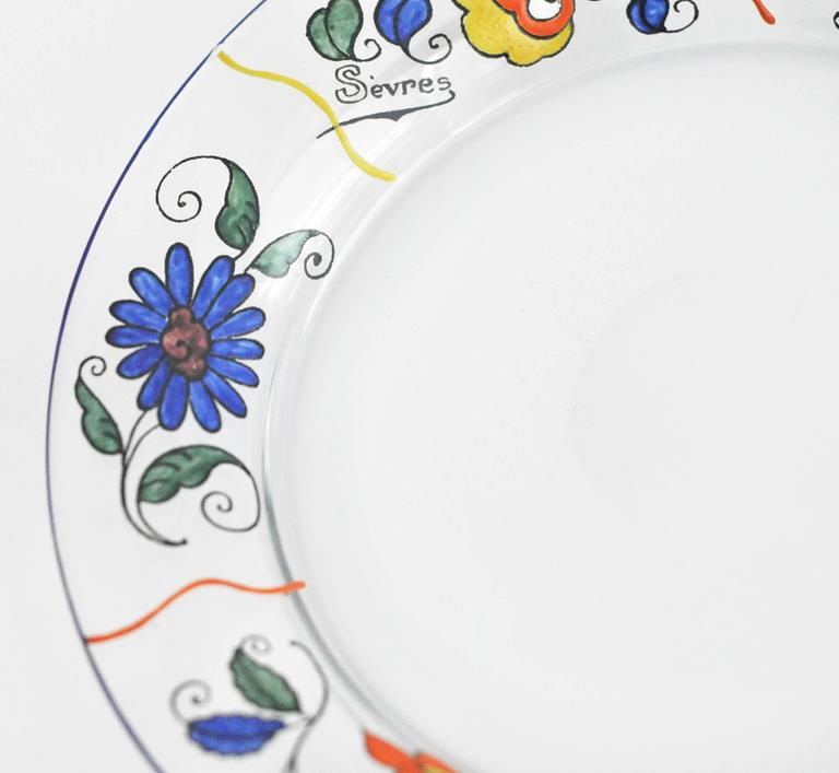 Early 20th Century 1920s Sevres Enameled Glass Plates For Sale