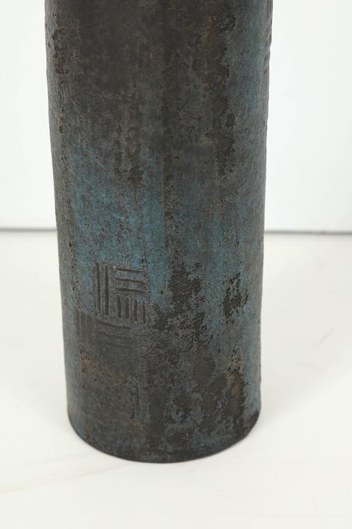 Italian Marcello Fantoni Cylindrical Ceramic Bottle Lamp, circa 1960s For Sale