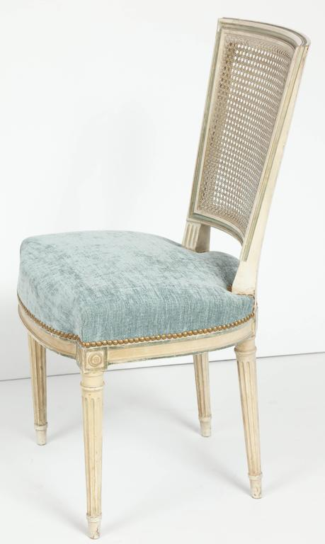 Set of Eight Louis XVI Style Caned Back Dining Chairs For Sale 2