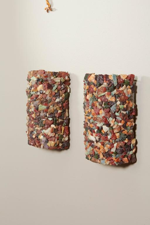 Pair of 1960s Stone Mosaic Sconces 2
