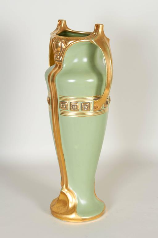 Austrian Greek Revival Gilt Porcelain Urn Vase For Sale At 1stdibs