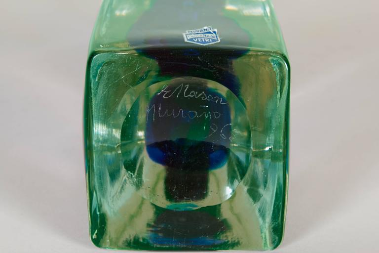 Mid-20th Century Ermanno Nason Modernist Murano Glass Sculpture, Signed and Dated For Sale