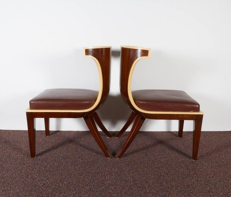 A Pair Of French Art Deco Gondola Side Chairs By Designer Ernest Boiceau Swiss