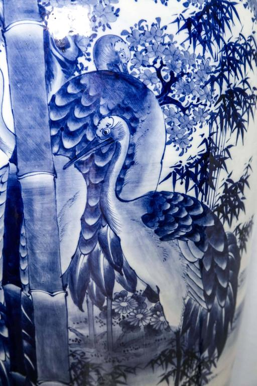 Hand-Painted Japanese Blue and White Porcelain Floor Vase For Sale