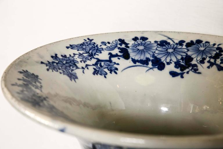 19th Century Japanese Blue and White Porcelain Floor Vase For Sale