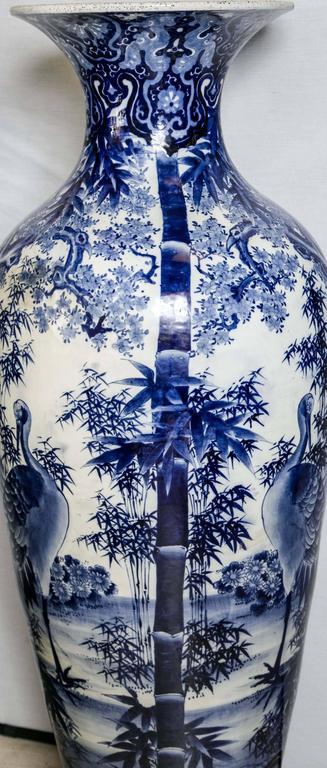 Japanese Blue and White Porcelain Floor Vase For Sale 2