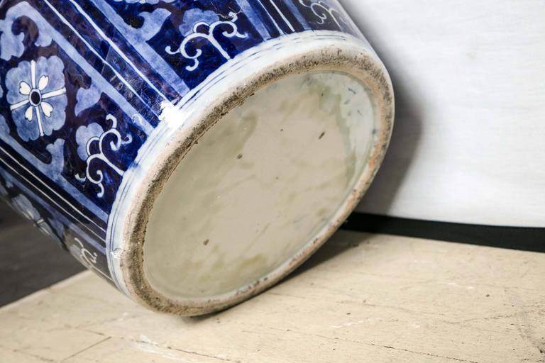 Japanese Blue and White Porcelain Floor Vase For Sale 4