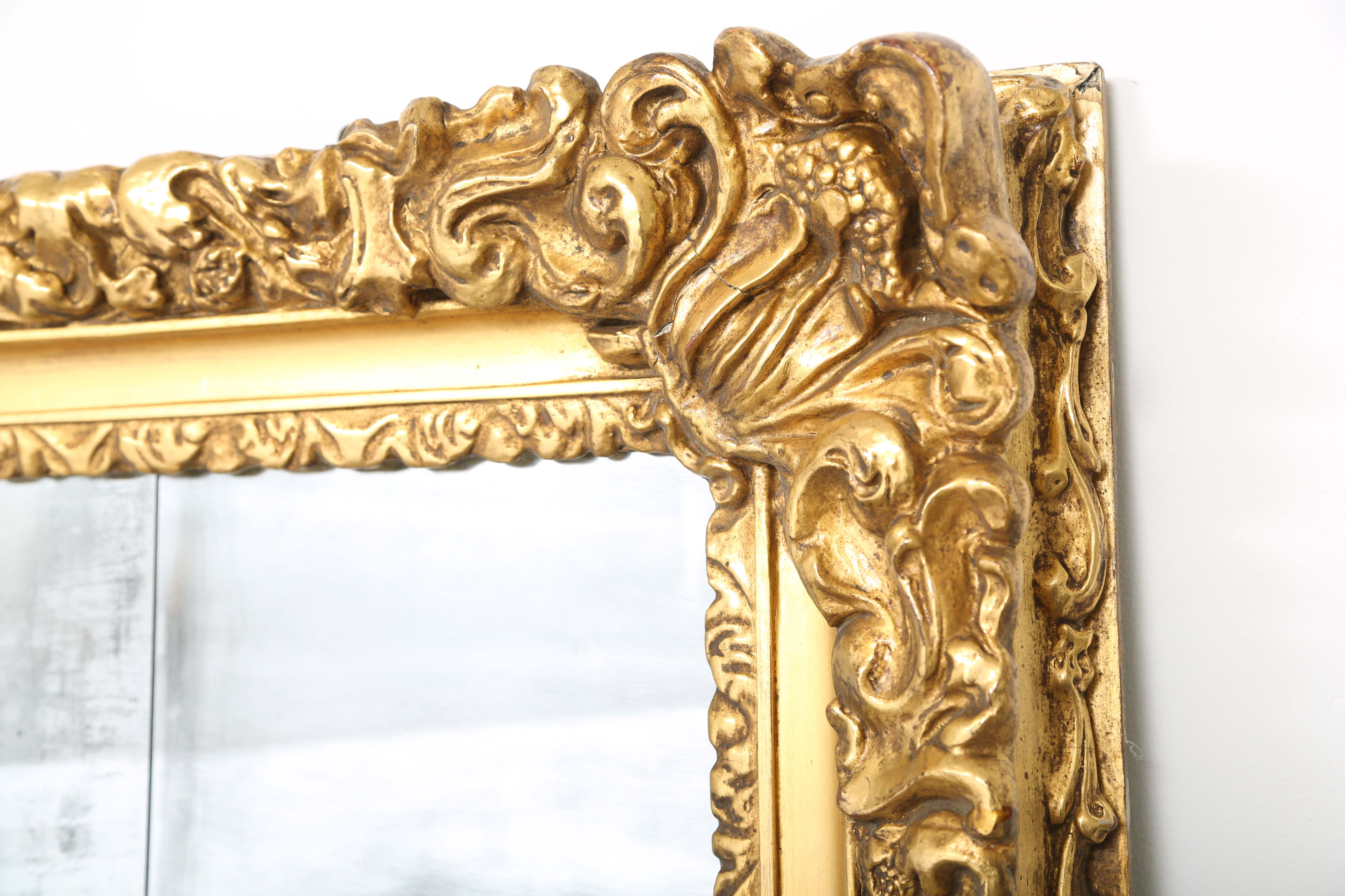 Monumental 19th Century Baroque Giltwood Wall Mirror, 9 foot x 6 ...