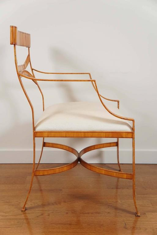 American Iron Armchair with Faux Bois Finish For Sale