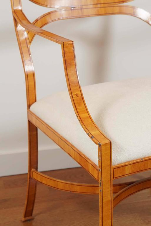 Upholstery Iron Armchair with Faux Bois Finish For Sale