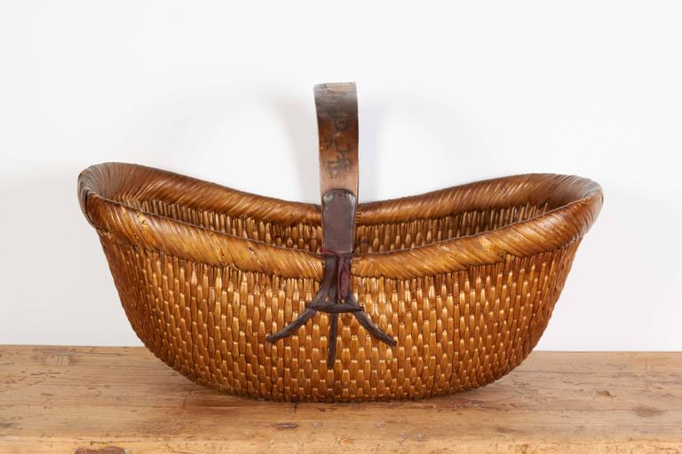 Old Handmade Baskets : Antique handmade willow flower basket at stdibs