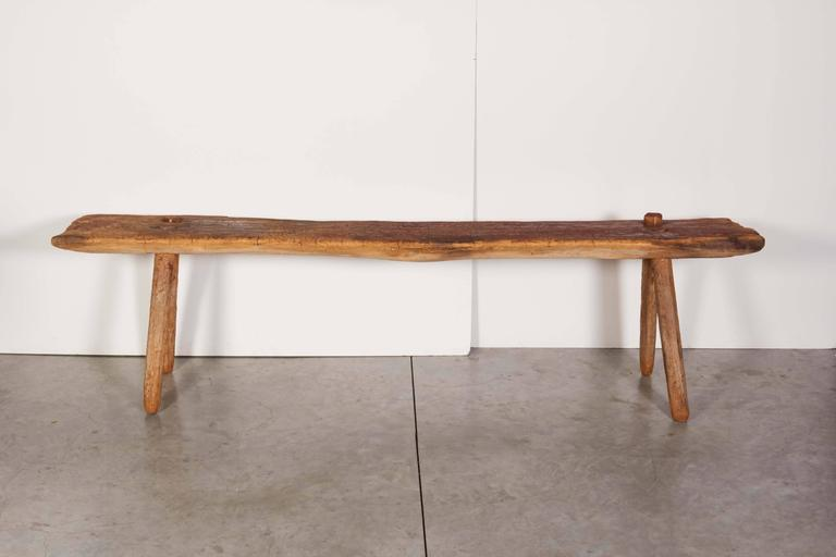 Thai Rustic Primitive Bench with Faded Red Paint For Sale