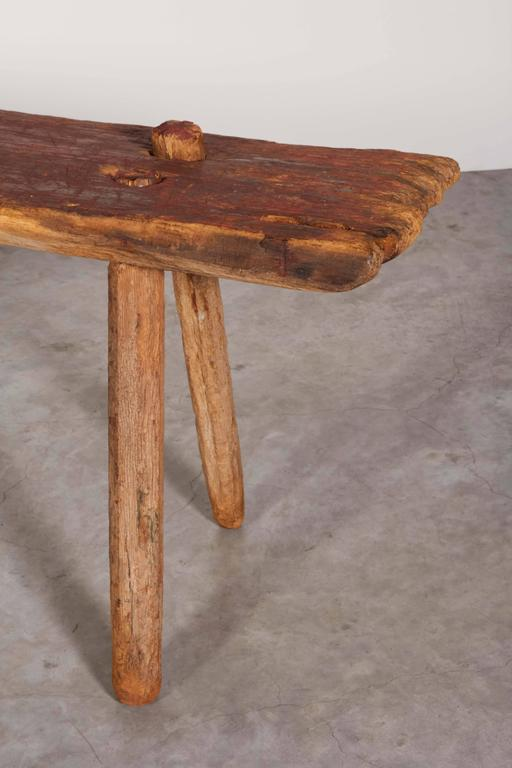 Rustic Primitive Bench with Faded Red Paint In Good Condition For Sale In New York, NY