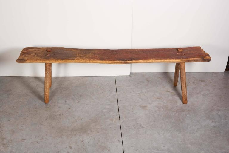 Rustic Primitive Bench with Faded Red Paint For Sale 1