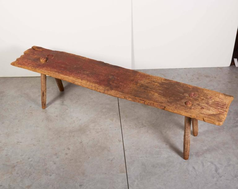 Rustic Primitive Bench with Faded Red Paint For Sale 2
