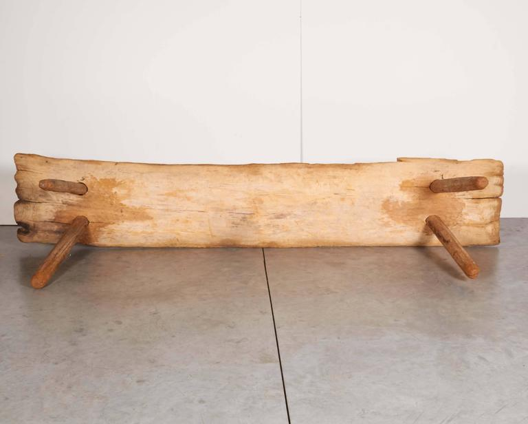 Rustic Primitive Bench With Faded Red Paint At 1stdibs