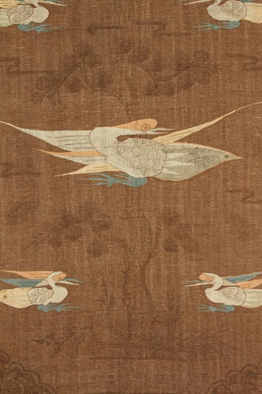 Mongolian Kilim Carpet/Wall Hanging, Brown, Teal, Peach, Ivory 2