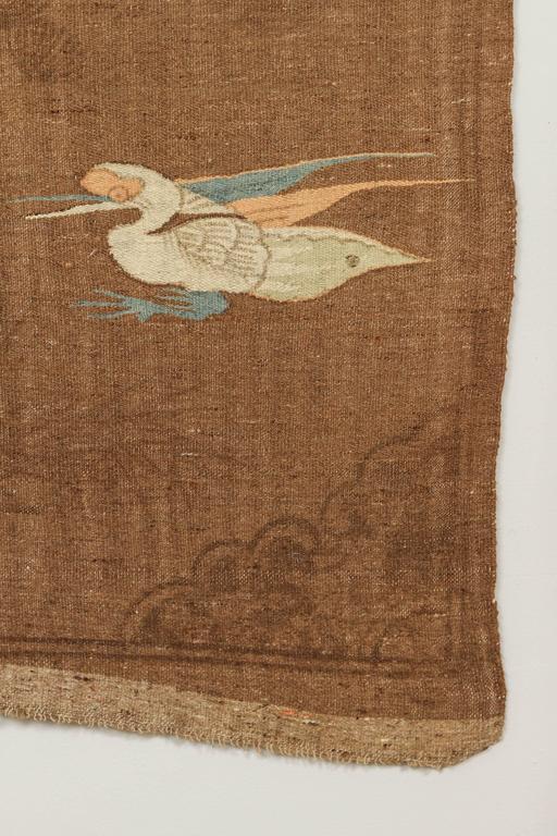 Mongolian Kilim Carpet/Wall Hanging, Brown, Teal, Peach, Ivory 3