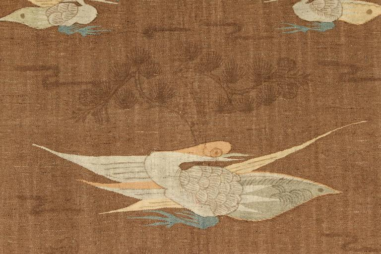 Mongolian Kilim Carpet/Wall Hanging, Brown, Teal, Peach, Ivory 4